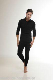 Hasyun MENS 1/4 ZIP 100% MERINO WOOL Long Sleeve Base Layer BLACK or