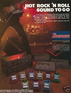 1984 IBANEZ DESTROYER GUITAR TS9 TUBESCEAMER AD 9 EFFECTS PEDALS PRINT