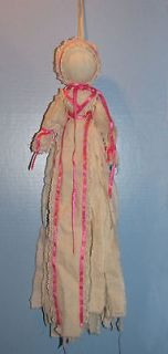 CLOTH RAG DOLL 21 MUSLIN FABRIC STRIPS PINK RIBBON NO FACE DOLL OLD