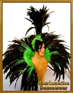 GREEN BRAZIL Feather SAMBA CARNIVAL BACKPACK HEADDRESS