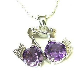 Swank round purple amethyst CZ Crystal Necklace Pendant
