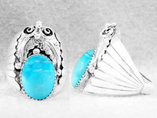 Newly listed Mens Ladies Ring Turquoise Kingman Navajo SSilver S10½