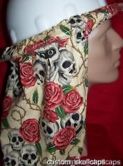 Gothic Cream Skulls & Roses Hard Hat Neck Shade   Custom Made in the