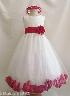 ROSE PETAL SASH COLOR BRIDAL WEDDING PARTY PAGEANT FLOWER GIRL DRESS