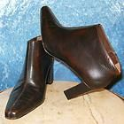 CALVIN KLEIN~SZ 7~GORGEOUS BROWN LEATHER BOOTS/SHOES/ZIPPER SIDES