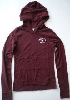 & Fitch by Hollister Women Burgundy Hoodies Long Sleeve Shirt S