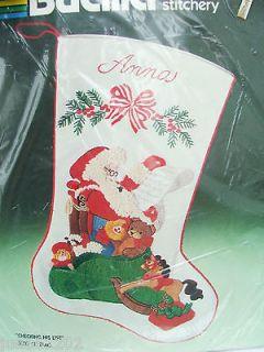 Bucilla CHECKING HIS LIST Crewel Stitchery Christmas Stocking Kit