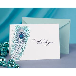 50 Peacock Feather Wedding Thank You Cards Notes