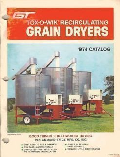 GT TOX O WIK RECIRCULATING BATCH GRAIN DRYERS SALES CATALOG 1974