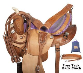 NR New 15 Tooled Leather Purple Seat Barrel Racing Western Horse