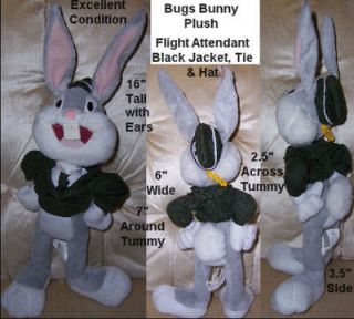 Looney Tunes Bugs Bunny Plush Black Jacket, Tie & Hat