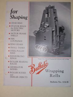 Vtg Buffalo Forge Co Catalog~Wrappi ng Rolls~Shaping