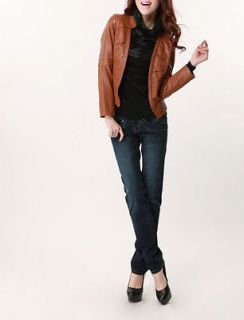 Cool Europe Design Detail Women Leather Short Jacket Lady OL Casual