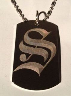 OLD English Font Initial Alphabet Letter S   Dog Tag w/ Metal Chain