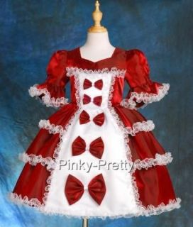 Burgundy Girl Vintage Victorian Dress Fancy Costume Pageant Party Size