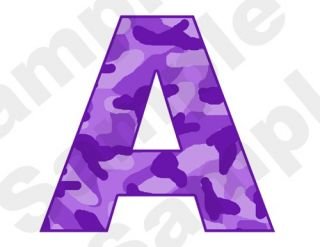 PURPLE CAMO ALPHABET LETTER NAME BABY NURSERY CHILDRENS WALL ART