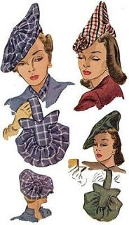 H1318   1940s Ladies Hats and Purses Sewing Pattern   Historical