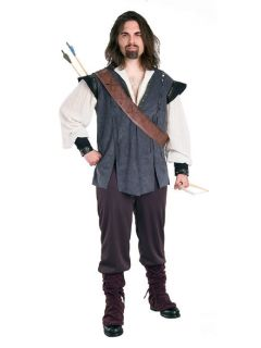 Adult Mens DELUXE ROBIN HOOD Ren Costume Gray Vest Shirt Black Pants