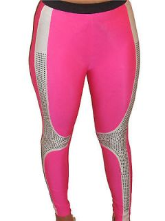 Sexy pink & white lycra stud leggings celeb disco pants 8 10 12