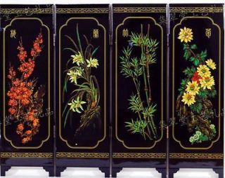 wonderful beautiful lacquer carved painting four seasons folding