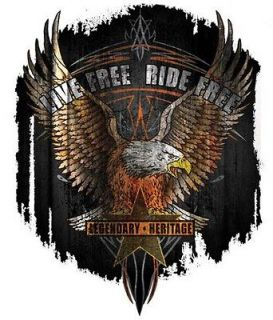 LIVE FREE RIDE FREE EAGLE American USA VINYL STICKER/DECAL Art by Hot