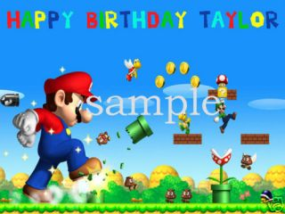 Super Mario #10 Edible CAKE Icing Image topper frosting birthday party