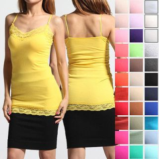~3X Cozy Basic Lace Trim Spaghetti Strap CAMI TANK TOP Plain Camisole