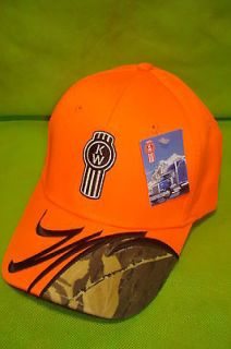 KENWORTH HAT: HUNTER ORANGE / CAMO SOLID CLOTH CAP *FREE