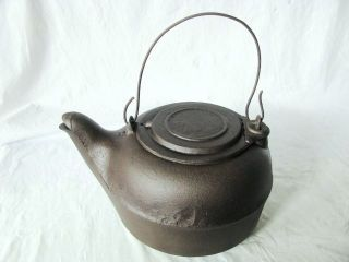 ANTIQUE WOOD STOVE COWBOY CAMP FIRE CAST IRON TEA KETTLE BIRD SPOUT