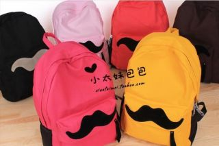 NEW Womens Full Mustache print Cotton Campus Backpack Girls School bag