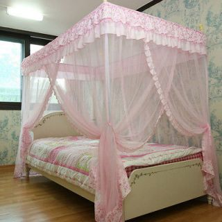 Pink Luxury 4 Post Lace Bed Canopy Set Mosquito Net 125x205 Single