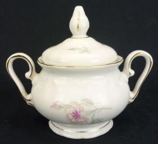 Bavaria Germany China Sugar Bowl and Lid Pink Carnations Gold Trim
