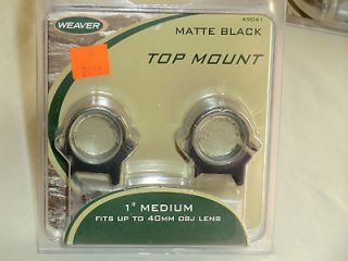 new WEAVER 1 Medium TOP MOUNT Scope Mount Rings 49041 matte black