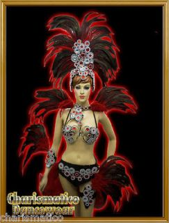 RED DRAG QUEEN SAMBA RIO CARNIVAL FEATHER COSTUME+HEADDR ESS+Collar