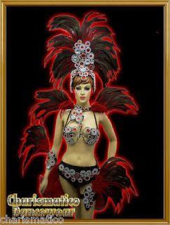 RED DRAG QUEEN SAMBA RIO CARNIVAL FEATHER COSTUME+HEADDR ESS+Collar