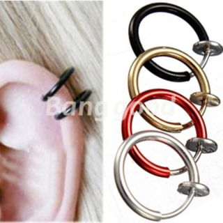 Clip on Fake Hoop Boby Nose Lip Ear Piercing Ring Stud Earrings Punk