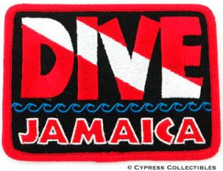 DIVE JAMAICA   EMBROIDERED PATCH SCUBA DIVING FLAG LOGO