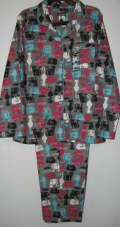 Joe Boxer Winter Flannel Cat Pajamas Womens Sizes S M L XL Nwt