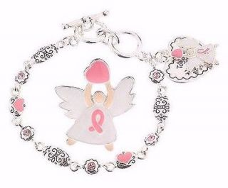 Pin & Pink Ribbon Charm Bracelet Breast Cancer Awareness PIN/ NEW