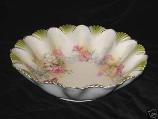 RS PRUSSIA   PINK & WHITE CARNATION FLOWERS LARGE BOWL