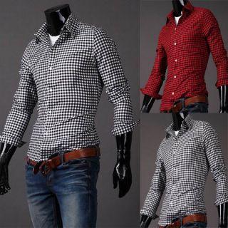 813 Mens Casual Slim Fit Stylish Cotton Plaid Dress Shirts Tee Tops