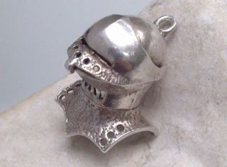 Vintage Solid Silver Suit of Armour Fighting War Helmet Charm Opening