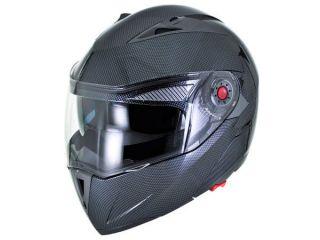 ATV UTV 4X4 MX   Carbon Fiber Modular Flip Up Helmet Dual Visor   L