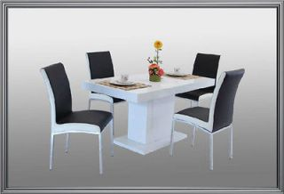 PC Modern Black and White Finish Dining Room Set Table & Chairs