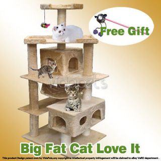 Beige Cat Tree Condo Furniture Scratch Post Play House For Big Fat Cat