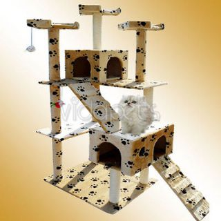 Paw Print Cat Tree House Condo 002 Scratcher Post Furniture Play House