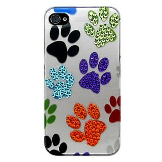 Paw Prints Design Faceplate Case For Apple Iphone 4 4G 4Gs 4S Phone