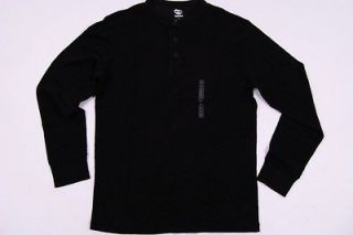Timberland Long Sleeve Thermal Henley Cotton Shirt for Men in Caviar