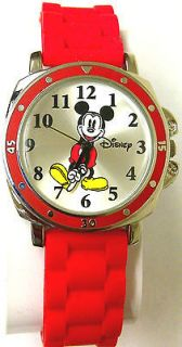 Mickey Mouse Moving Hands Silver Dial Red Rubber Strap Womens Watch