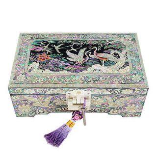 Pearl Asian Lacquer Wooden Decorative Lock Jewelry Treasure Chest Box